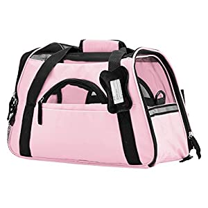 Paws & Pals Airline Approved Pet Carrier – Soft-Sided Carriers for Small Medium Cats and Dogs Air-Plane Travel On-Board Under Seat Carrying Bag with Fleece Bolster Bed for Kitten Cat Puppy Dog Taxi