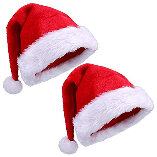 Velvet Flush Soft Funny Merry Christmas Xmas Hat Santa Party for Vacation Pack Top Beanie Cap Set Fancy Creative Children Adult Gift Family Decorations Ornaments Costume 2 Pieces red and White