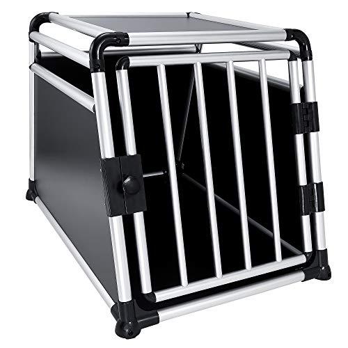 JOM Hundebox Hundetransportbox Transportbox Hund Alubox Reisebox Gitterbox Auto (XL)
