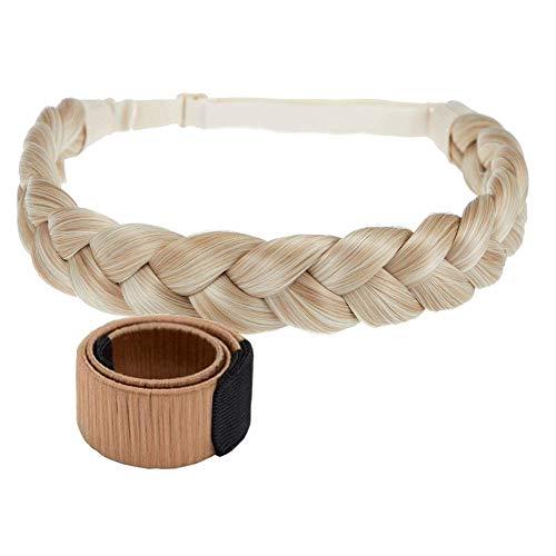 TOECWEGR Fascia per capelli intrecciata, 3 fili, capelli sintetici intrecciati, classica e voluminosa, fascia per capelli intrecciata, copricapo da donna (T61327)