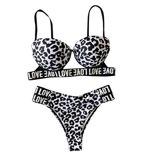 Women Sexy Fashion Letter Printing Push-Up Padded Bra Beach Bikini Set Swimsuit Brown