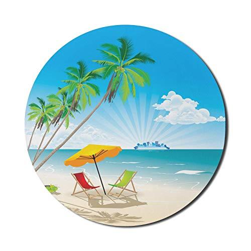 Runde Mäusematte, Strandkorb-Mauspad für Computer, Sonnenstrand mit grünen Palmen und Meerblick Entspannender Sommerurlaub, rundes, rutschfestes modernes Mousepad aus Gummi, mehrfarbiges Mousepad