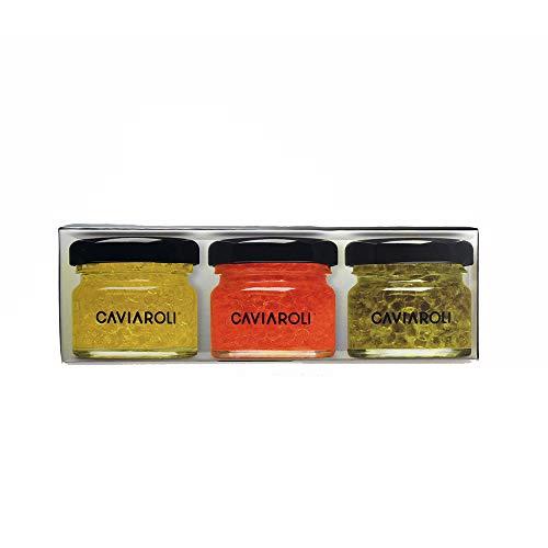 Caviaroli - Trio Encapsulado de Aceite de Oliva Virgen Extra, Arbequina, Guindilla y Albahaca - Estuche - 3x20 g