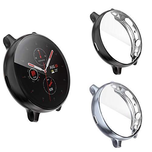 Dlihvy Funda Protectora para Samsung Galaxy Watch Active 2 44mm,Cubierta Protectora de Marco TPU Protector de Flexible de Cobertura Total para Samsung Galaxy Watch Active 2 (44mm, Negro+Gris)
