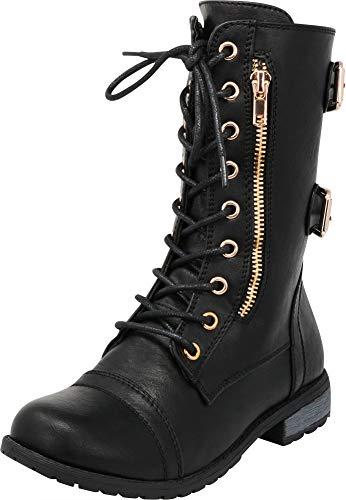 Cambridge Select Girls' Lace-Up Non-Slip Lug Sole Military Combat Boot (Toddler/Little Kid/Big Kid),4 M US Big Kid,Black PU