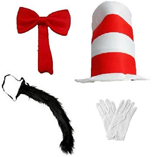 21Fashion Dr. Seuss Erwachsene Mütze rot mit Schleife und Katzenschwanz, Kinderbuch/Cosplay-Zubehör Gr. Einheitsgröße, Kinder Fliege + Mütze + Handschuhe + Schwanz