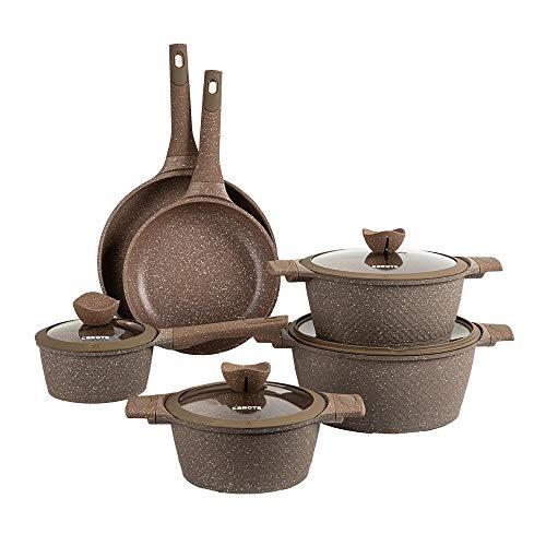 Carote Granit Nonstick Cookware Set,10 Pcs Nonstick Cookware Set Pans and Pots, Terra,Brown PFOA FREE (10-Pcs Cookware Set)