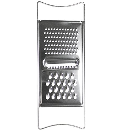 COM-FOUR Vegetable/raw Food Grater Made of Stainless Steel, Universal Grater with Different Friction Surfaces (01 Piece - Flat Grater)