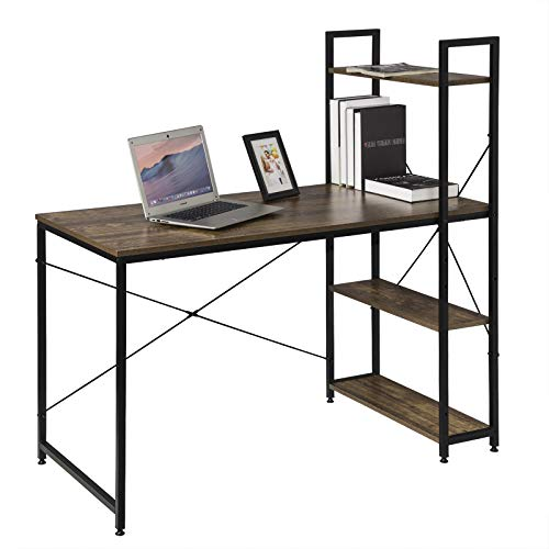 eSituro Scrivania Libreria Porta PC con Scaffale a 4 Ripiani in Acciaio Legno Tavolo da Lavolo Stile Industriale per Computer 120x60x120 cm SCD0075