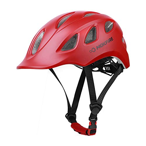 MOKFIRE Adult Bike Helmet Adjustable Lightweight Urban Casual Commuter Cycling Bicycle Helmet for Women and Men - Size (22.44-24.01 Inches) - Red