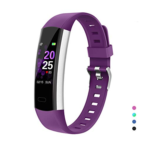 YoYoFit Slim HR Kids Fitness Tracker Watch with Heart Rate Monitor, Kids Activity Tracker Health Exercise Watch with Pedometer Calorie Counter Sleep Monitor, for Women Men Kids, Purple