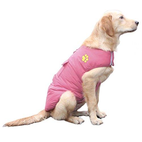 ubest Hundemantel wasserdichte Winterjacke, mit D-Ring Warm Regenmantel gepolstert Puffer Weste (Rosa, Größe 2XL)