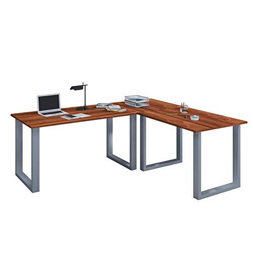 VCM Eckschreibtisch Schreibtisch Büromöbel Computertisch Winkeltisch Tisch Büro Lona 130 x 160 x 50 cm: Kern-Nussbaum