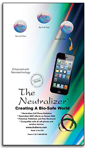 Aulterra EMF Protection Anti Radiation Sticker for Cell Phones, Laptops and Mobile Devices to Neutralize Harmful Incoherent EMF Frequencies Including 5G