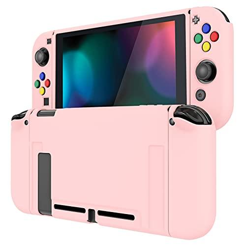 PlayVital Protector para Nintendo Switch Carcasa con Tapas de Botón Estuche Delgado de TPU Suave Funda para Nintendo Switch Joy-con&Consola Incluye Colorido ABXY Dirección Botón Caps(Rosa)