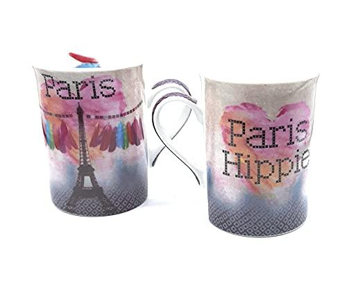 Udc Fox Trot - Juego de 2 tazas de cerámica 'Paris Hippie', 10 x 7 cm