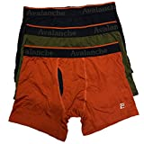 Avalanche Active Core Performance 3-Pack Bundle Long Leg Boxer Briefs Breathable Underwear for Men, Navy/Orange/Olive (Large)