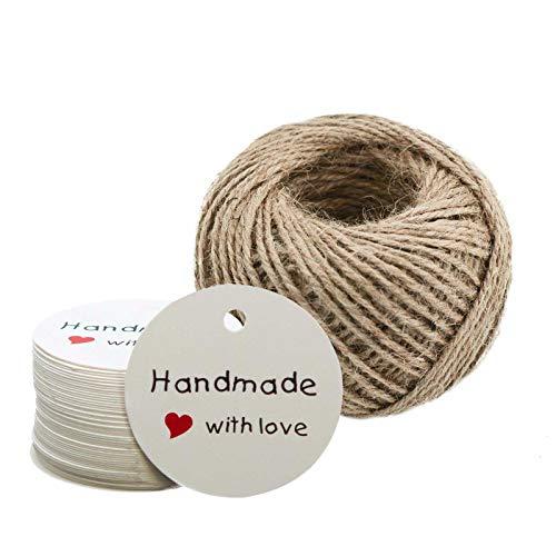 100 Papier-Anhänger Handmade with Love mit 55m Juteschnur, Farbe:weiß, Größe:Ø 45 mm