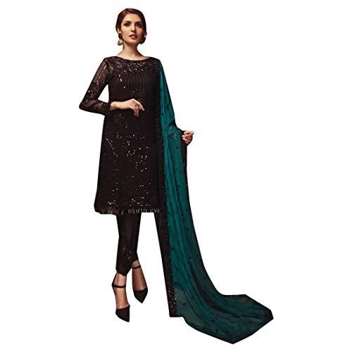 Pakistanisches Cocktailkleid Langes, schweres Paillettenarbeit Salwar Kameez Straight Pant-Anzug Indian Muslim Abendgarderobe Schwarz 7423