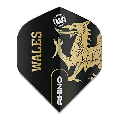 WINMAU Rhino Wales Schwarz und Gold Flights - 1 Satz pro Packung (Insgesamt 3 Flüge)