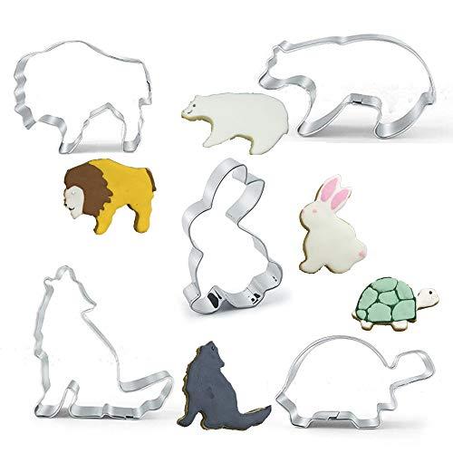Backform 5-tlg Eisbär Hase Wolf Löwe Schildkröte Ausstecher Kuchenform aus Edelstahl
