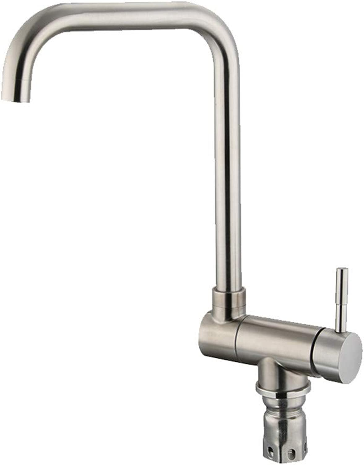 YAWEDA Universal redary Kitchen Sink Faucet 304 Stainless Steel Lead-Free 7-Shaped Tubing Hot and Cold Water Mixer Faucet Kitchen Faucet Single Handle