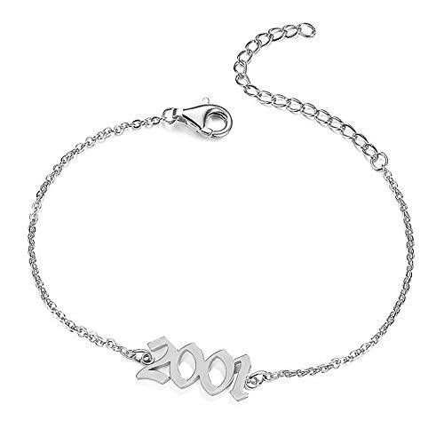 UMSTAR Birth Year Ankle Bracelets for Women,Summer Beach Foot Chain Dainty Silver Anklets for women girls Foot Jewelry Birthday Gifts (2001)