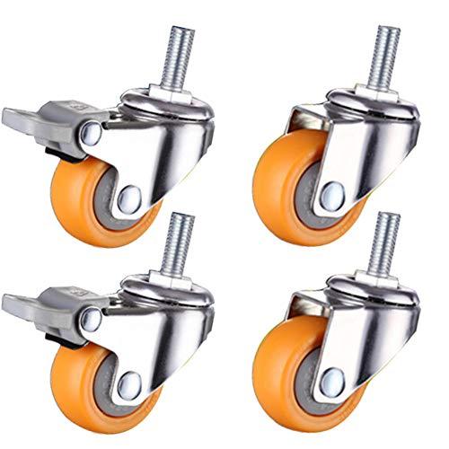Lenkrollen für Möbel klein 25 mm 1 Zoll Gewinde M6 rollen mit Bremse 100kg für Kinderbett Universalrad zum Wagen Bürostuhl Regal Schublade 4 Stück