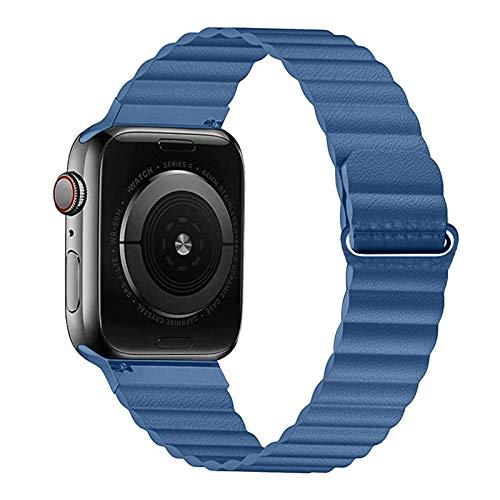 ZLRFCOK Correa de piel sintética para Apple Watch Band 44mm 40mm Reemplazo para iWatch Series 6 5 4 3 2 pulseras 42mm 38mm pulsera reloj pulsera