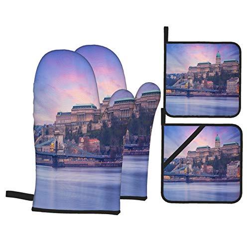 4-teiliger Ofenhandschuh und Topflappen,Budapest Castle Berühmte Kettenbrücke Sonnenuntergang,rutschfeste wasserdichte und hitzebeständige Mikrowellenhandschuhe zum Kochen und Backen in der Küche