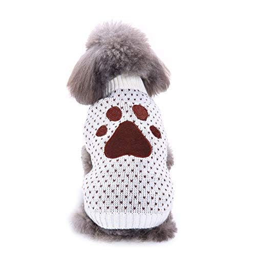 CWYPWDY Pet kleding kleine hond pullover grote poot patroon kraag hond kleding pullover winter huisdier mantel