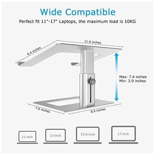 BoYata Soporte para portátil ventilado de altura ajustable, soporte para portátil compatible con MacBook Pro / Air de 10… 6