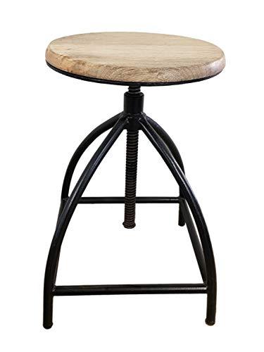 Drehhocker Barhocker Hocker Drehstuhl höhenverstellbar Liverpool Holz Metall-Gestell schwarz Farbe schwarz matt - Tabacco