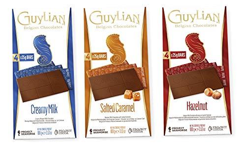 Guylian Schokolade 3er Set - belgische Schokolade - Vollmilchschokolade, gesalzenes Karamell, Haselnuss - Schokoladentafel Chocolate Bars - (3x100g)