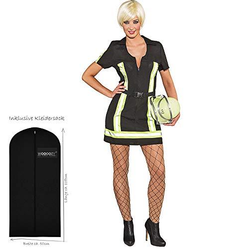 WOOOOZY Damen-Kostüm Sexy Feuerwehrfrau, Gr. 38 - inklusive praktischem Kleidersack