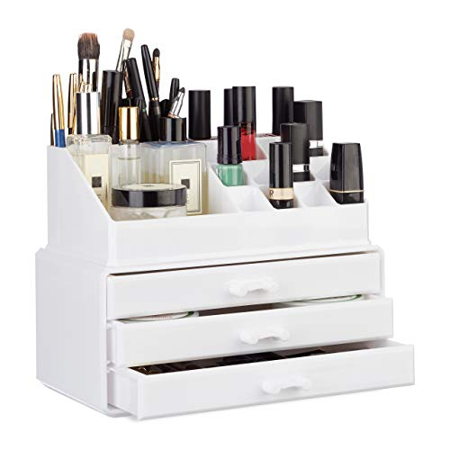 Relaxdays Organizador Maquillaje Pequeño, Blanco, 14x23.5x19 cm