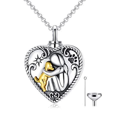Sterling Silber Hund Urne Kette für Asche, Dog Memorial Andenken Einäscherung Halskette Schmuck Geschenke für Frauen Hundeliebhaber