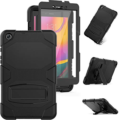 Galaxy Tab A 8.0 2019 Rugged Case with Kickstand,Model SM-T290/SM-T295 Case,Full Body Heavy Duty Rugged Shockproof Protective Cover ,Built-in Screen Protector for Galaxy Tab A 8.0 2019(Black)