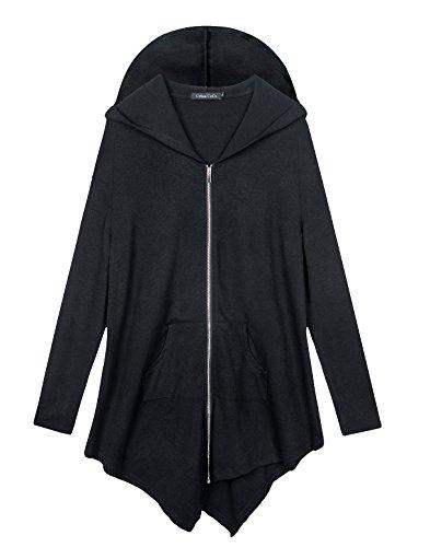 Urban CoCo Women#039s Hooded Sweatshirt Jacket Cape Style XL Black
