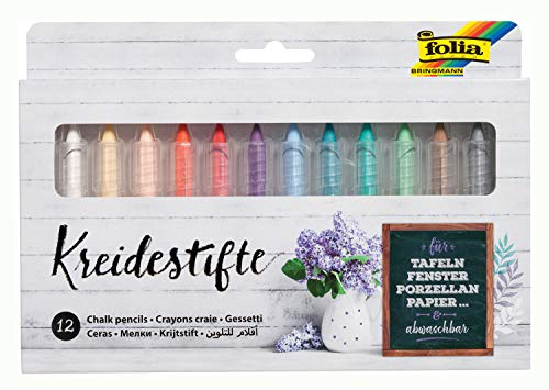 folia 371209 - Kreidestifte Set, 12 Stifte sortiert in 12 verschiedenen Farben