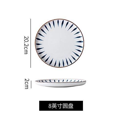 WHWH Geschirr Set Porzellan,Ceramic Tableware Dishes Set Salad Bowl Soup Bowl Plate-8 inch disc with Edge