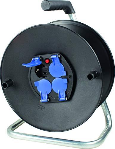 as - Schwabe Sicherheits-Leertrommel ohne Kabel – Kabeltrommel für max. 50 m Leitung – 4 Einbau-Steckdosen mit Schutzkappen – IP20 Innenbereich – Made in Germany – Schwarz I 10208, 40m