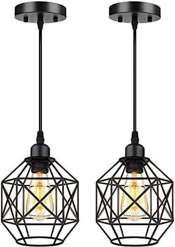 Dkdnjsk 2 unids araña Minimalista araña Industrial iluminación Retro araña Chandelier Negro Metal Jaula Chandelier Cocina Isla Techo luz Sala de Estar Sala de Estar Comedor Loft e26