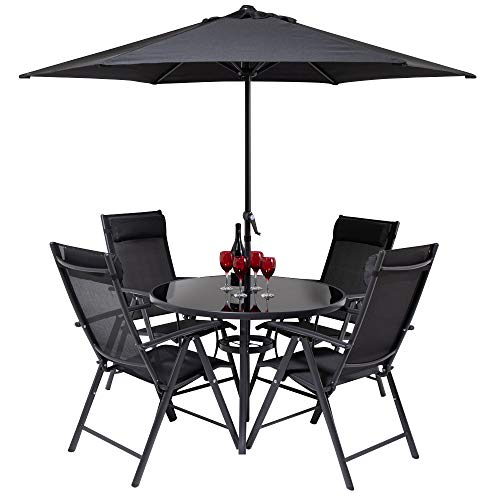HECTARE Kennet Reclining 4 Seater Polytex Patio Dining Set (Black)