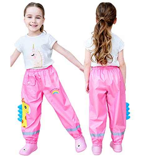 Coralup Pantalones impermeables para la lluvia para niñas pequeñas, a prueba...