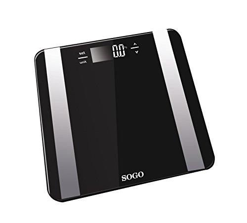Sogo Bascula de Baño Digital con alta medición precisa con medidor de grasa y Agua corporal, con gran plataforma y LCD, Base Cristal, Color: Negro