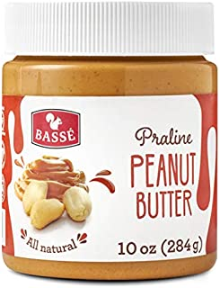 Basse All Natural Peanut Butter Praline, Keto friendly, Certified Gluten Free and Vegan, a Creamy Blend of Fresh Roasted Peanuts Nut Butter 10 Oz (1 Jar)