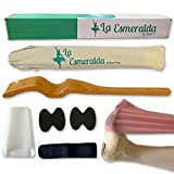 Ballet Professional Wooden pine foot Stretchers set for Dancers, Elastic Stretch Band, Two pads, leg strap, carry bag and gift box. (Wooden wood color Foot Stretcher set with carry bag and gift Box)