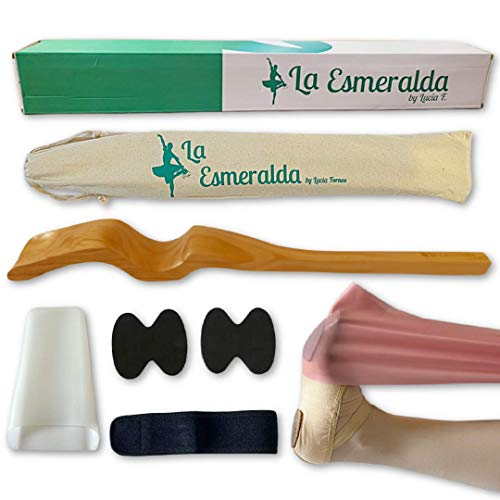 La Esmeralda Ballet Professional Wooden Pine Foot Stretchers Set for Dancers, Elastic Stretch Band, Two Pads, Leg Strap, Carry Bag and Gift Box. (Wooden Wood Color Foot Stretcher Set.)