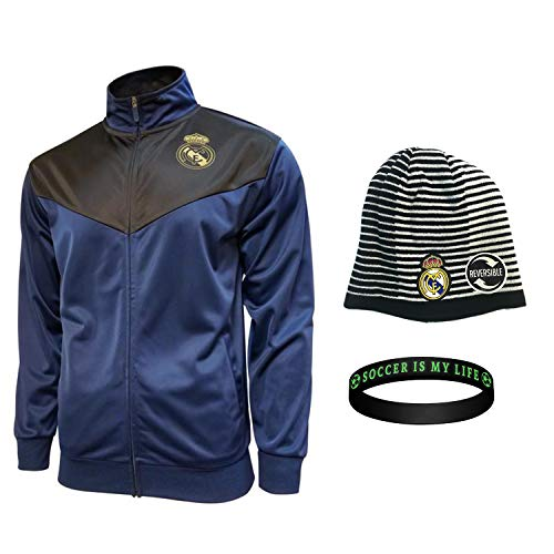 Real Madrid Jacket Beanie hat Mens Soccer Official Licensed Winter New Season 2019-20 (Navy Set 1, L)